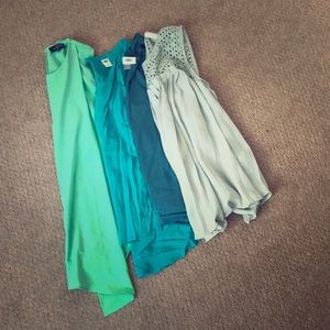 Tops - 4 Shades of green tanks